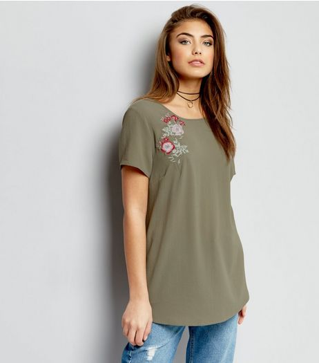 Khaki Floral Embroidered Short Sleeve T-Shirt  | New Look