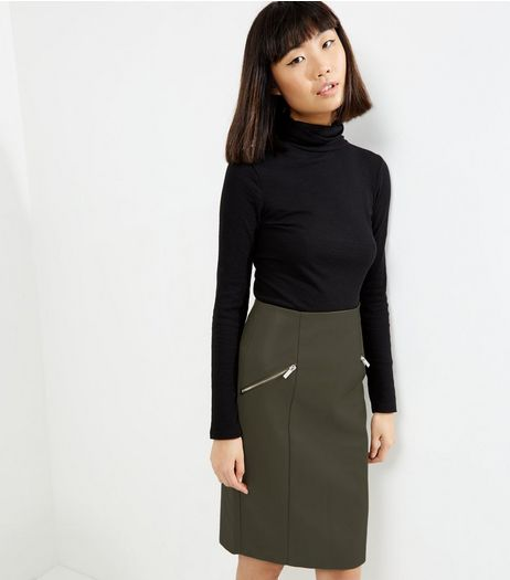 Khaki Zip Trim Leather-Look Pencil Skirt  | New Look