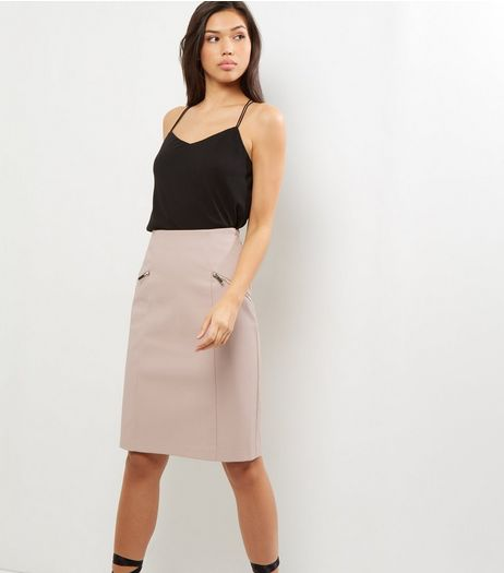 Shell Pink Zip Trim Leather-Look Pencil Skirt  | New Look