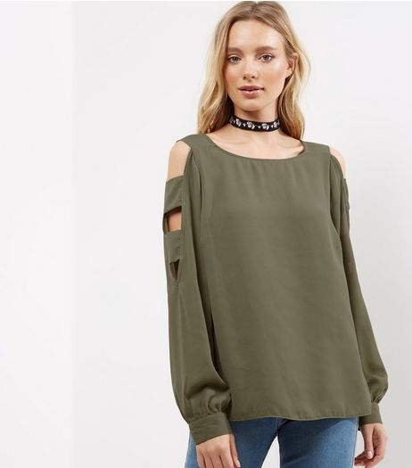 Khaki Cut Out Cold Shoulder Panel Top  | New Look