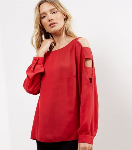 Red Cut Out Cold Shoulder Panel Top  | New Look