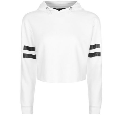 Teens White Stripe 96 Print Sleeve Hoodie | New Look
