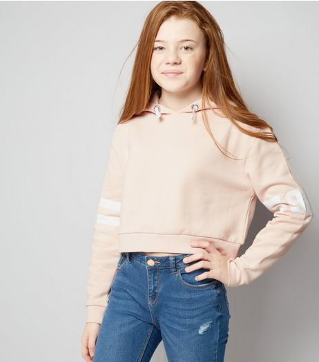 Teens Shell Pink Stripe 96 Print Sleeve Hoodie | New Look