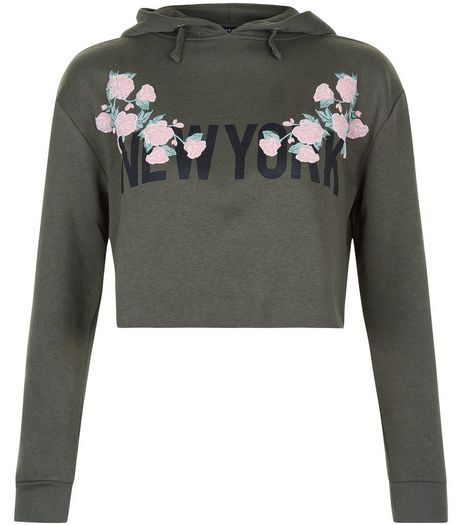 Teens Floral New York Cropped Hoodie | New Look