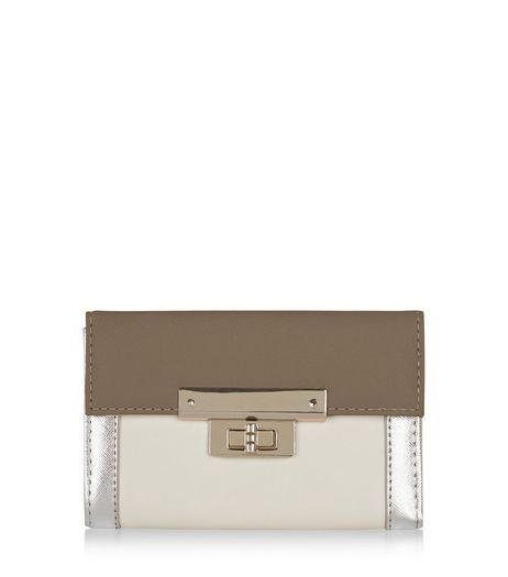 Silver Trim Colour Block Purse | New Look