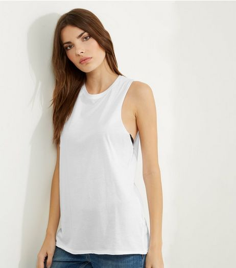 White Sleeveless Drop Hem Tank Top  | New Look