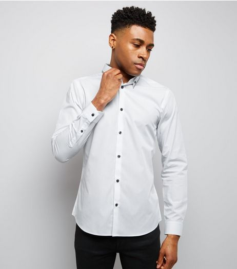White Stripe Collar Long Sleeve Shirt | New Look