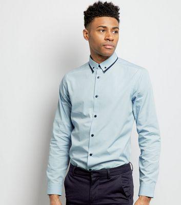 Pale Blue Stripe Collar Long Sleeve Shirt
