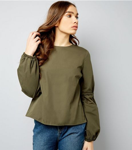 Khaki Elasticated Bell Sleeve Top  | New Look