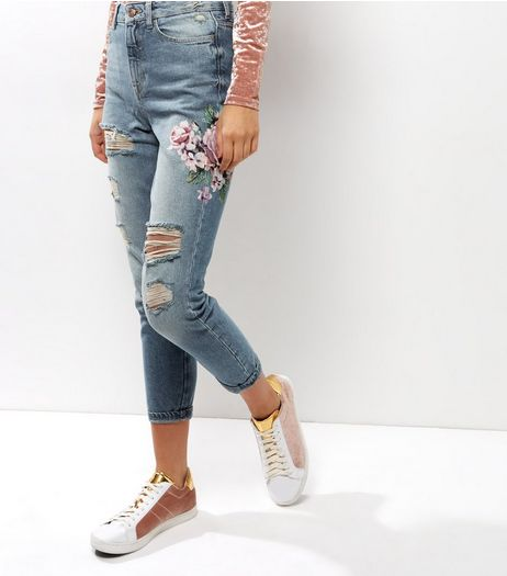 Blue High Waisted Floral Print Ripped Mom Jeans | New Look