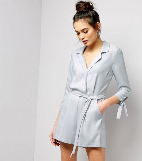 Grey Sateen Tuxedo 3/4 Tie Sleeve Playsuit  | New Look