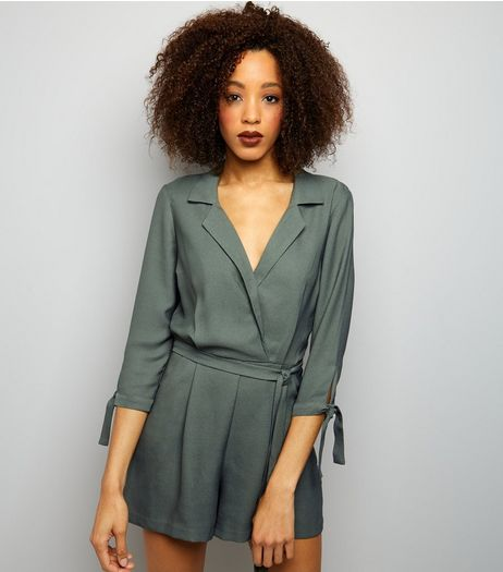 Khaki Sateen 3/4 Tie Sleeve Playsuit  | New Look