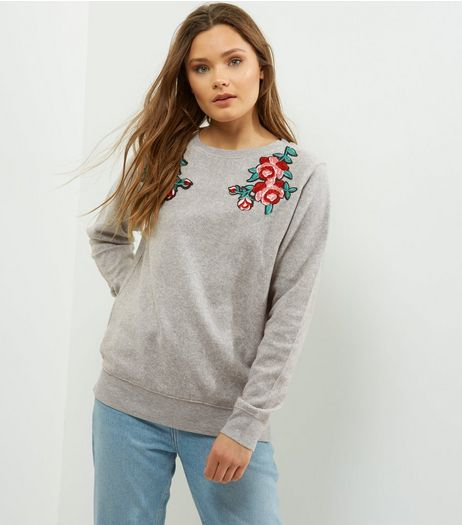 Grey Rose Badge Brushed Long Sleeve Sweater  | New Look