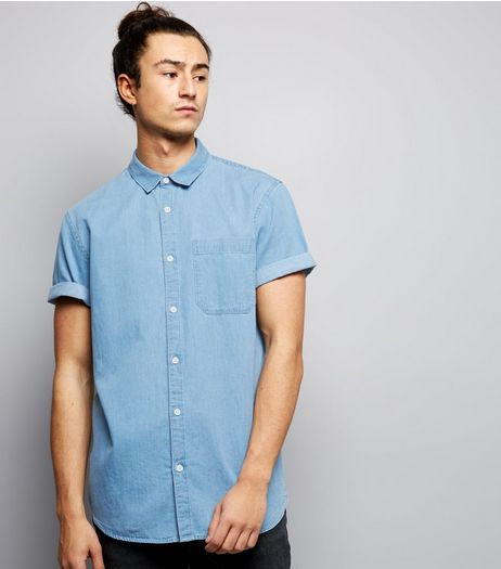 Blue Rolled Sleeve Denim Shirt  | New Look