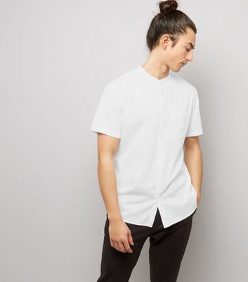 White Textured Short Sleeve Grandad Collar Shirt