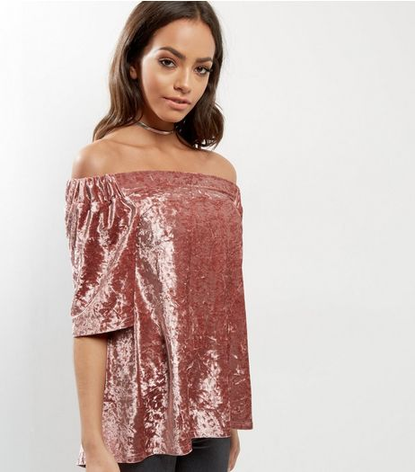 Cameo Rose Pink Velvet Bardot Neck Top | New Look