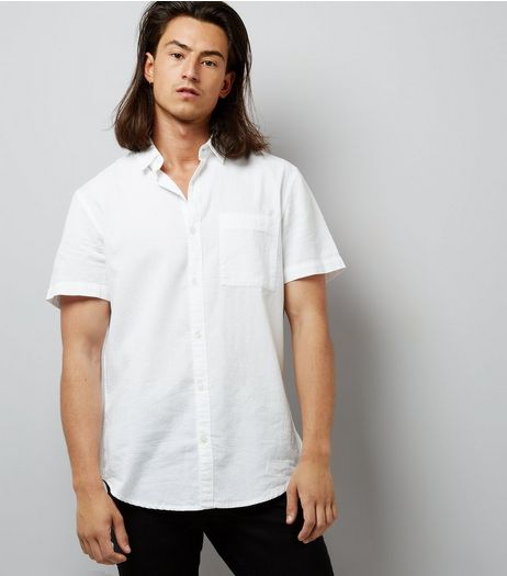 White Textured Short Sleeve Shirt | New Look