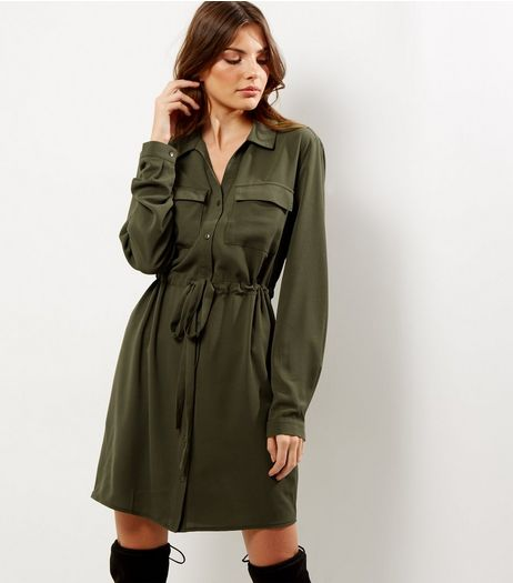 Tall Khaki Tie Waist Shirt Dress | New Look