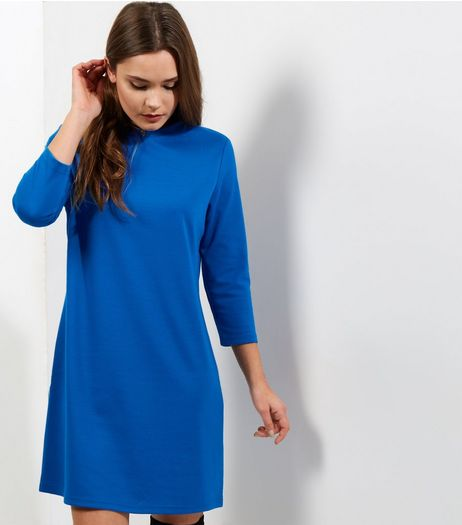 Blue 3/4 Sleeve Tunic Dress | New Look