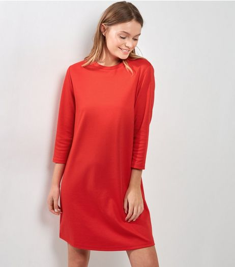Red 3/4 Sleeve T-Shirt Dress  | New Look
