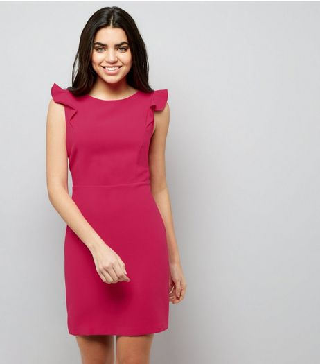 Bright Pink Frill Trim Shoulder Dress | New Look