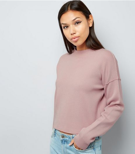 Shell Pink Funnel Neck Seam Trim Cropped Jumper  | New Look