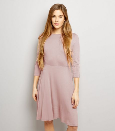 Pink Scoop Neck Tie Back Skater Dress | New Look