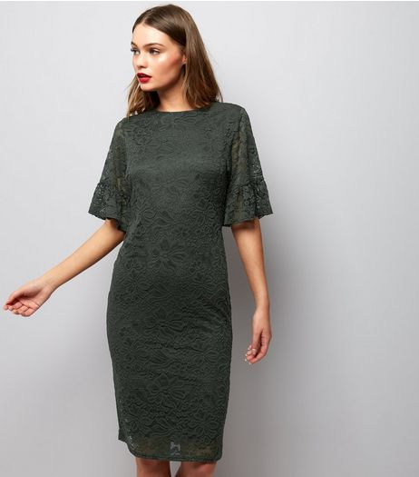 Khaki Lace Frill Sleeve Midi Dress | New Look