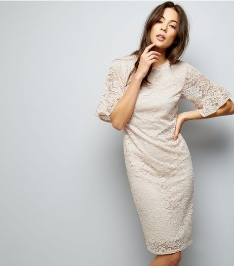 Shell Pink Lace Frill Flared Sleeve Dress | New Look