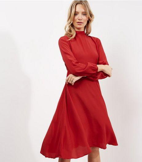 Red Funnel Neck Long Sleeve Midi Dress | New Look