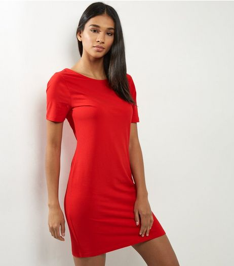 Red Scoop Back Short Sleeve Bodycon Dress | New Look