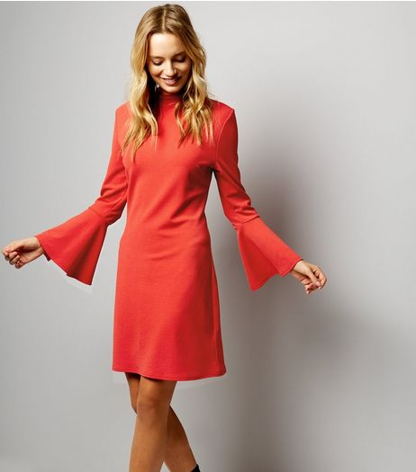 Red Bell Sleeve Scuba Tunic Dress | New Look