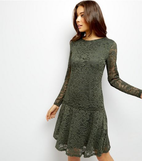 Khaki Lace Drop Peplum Hem Long Sleeve Tunic Dress  | New Look