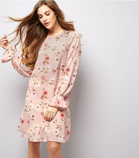 Shell Pink Floral Print Drop Hem Tunic Dress  | New Look
