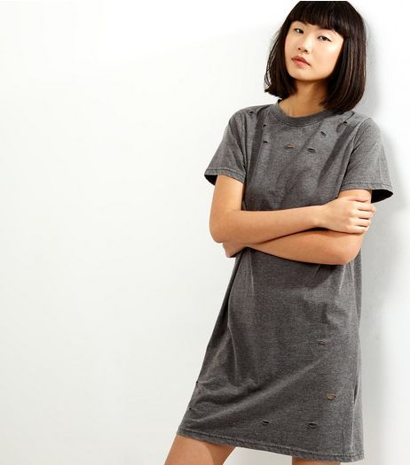 Dark Grey Ripped T-Shirt Dress | New Look