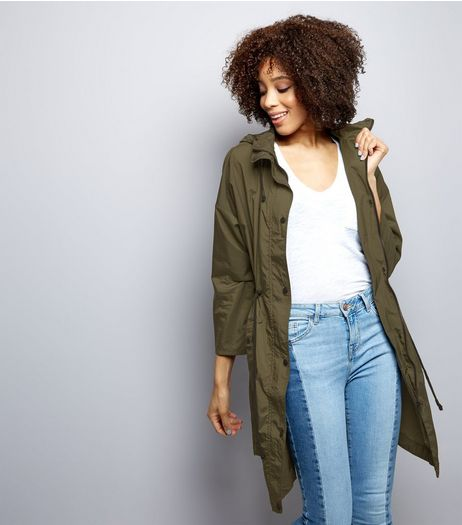 Khaki Hooded Longline Parka  | New Look