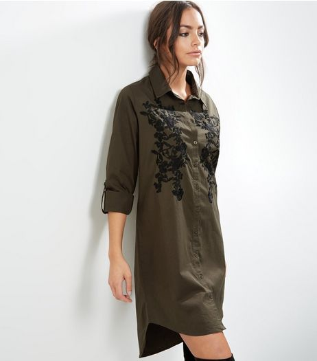 Khaki Floral Embroidered Long Sleeve Longline Shirt  | New Look