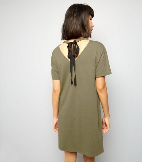 Khaki Tie Back T-Shirt Dress  | New Look