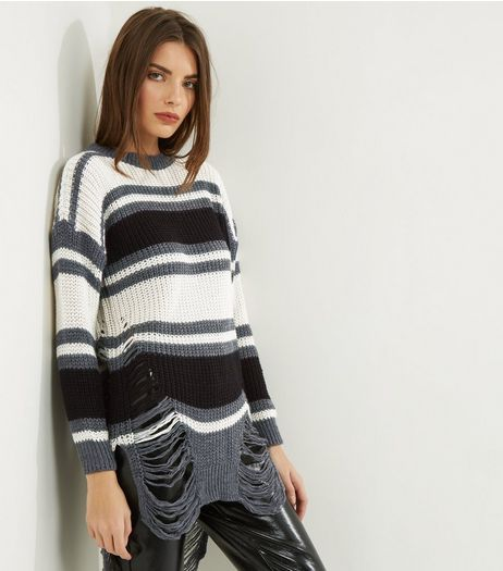 Loving This Grey Stripe Ladder Knitted Jumper | New Look