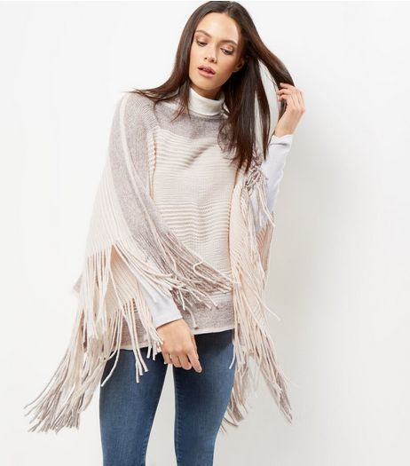 Blue Vanilla Cream Glitter Ribbed Fringed Poncho | New Look