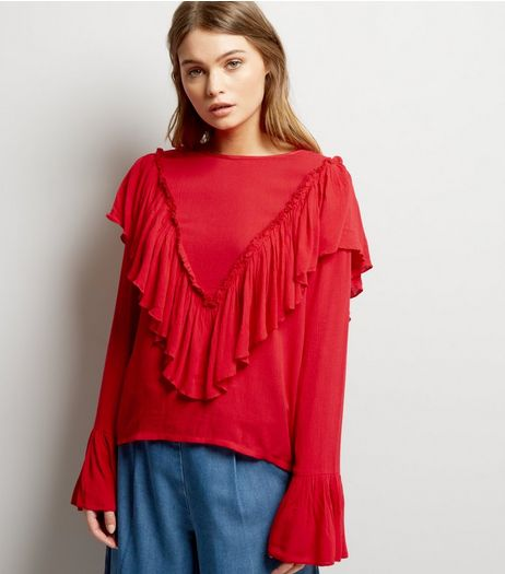 Blue Vanilla Red Frill Trim Blouse  | New Look