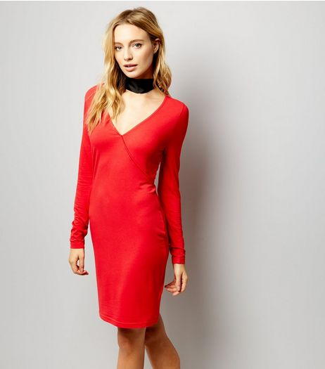 Red Jersey Wrap Front Long Sleeve Bodycon Dress | New Look