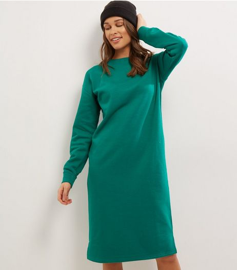 Green Long Sleeve Longline Sweater  | New Look