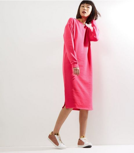 Bright Pink Long Sleeve Longline Sweater  | New Look