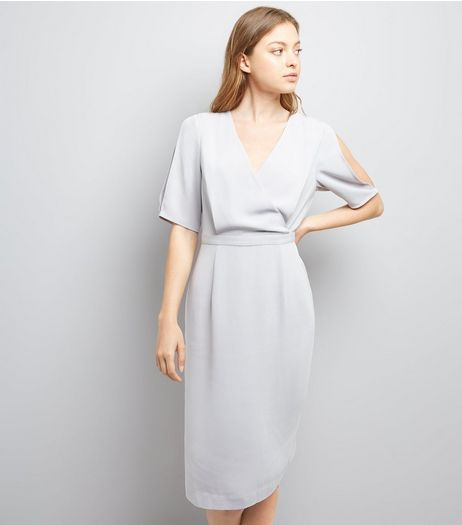 Grey Wrap Front Pencil Dress | New Look