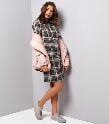 Light Grey Check Short Sleeve Tunic Dress | New Look