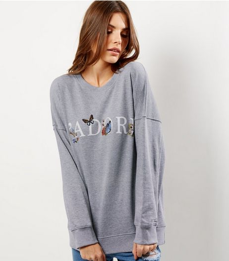 Tall Grey J'Adore Sweater | New Look