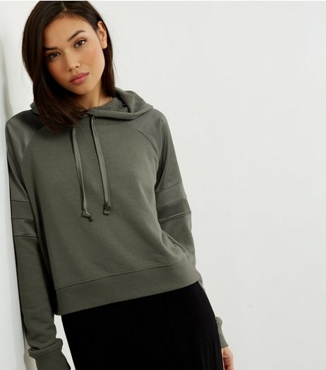 Khaki Sateen Panel Cropped Hoodie  | New Look