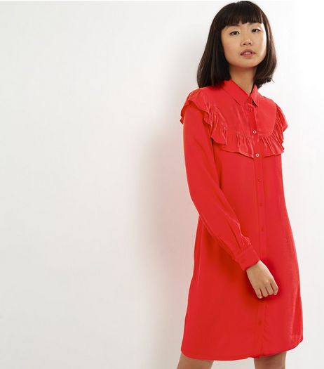 Red Frill Trim Long Sleeve Shirt Dress  | New Look