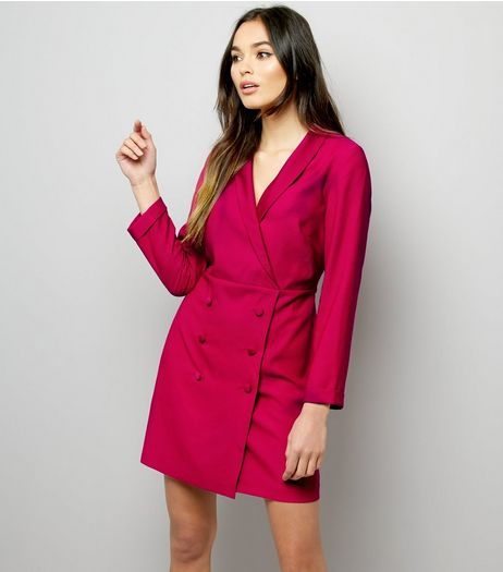 Pink Double Breasted Tuxedo Dress | New Look